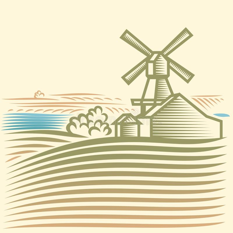 Download Windmill stock vector. Image of retro, urban, house, field - 27455770