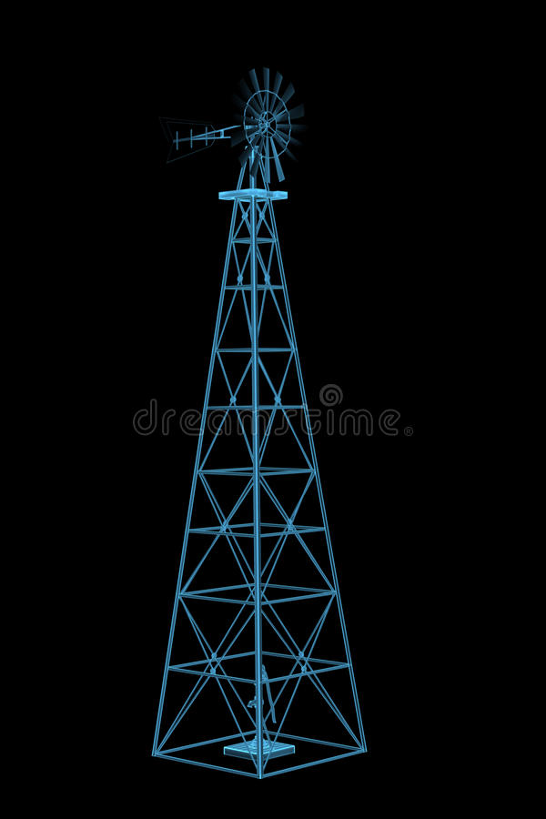 Download Windmill (3D xray blue) stock illustration. Image of detail - 19276435