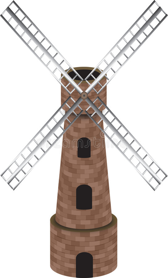 Download Windmill stock illustration. Image of turn, wood, power - 6974230