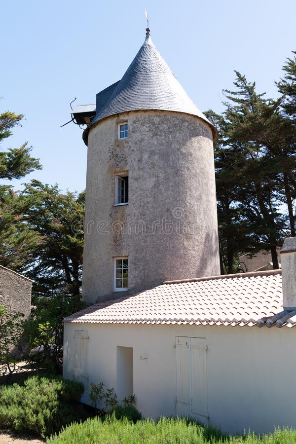 Windmill ancient medieval in Noirmoutier Vendee France royalty free stock photos