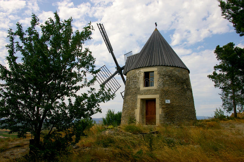 Ancient Windmill made of stones stock images