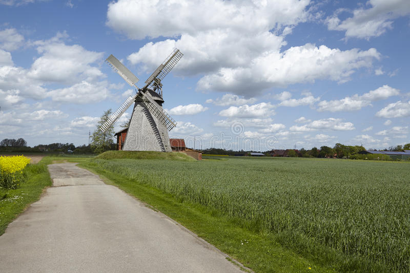 Windmill Bierde (Petershagen, Germany). The windmill Bierde (Petershagen, Germany) is a dutch type of windmill and is part of the Westphalia Mill Street ( stock photos