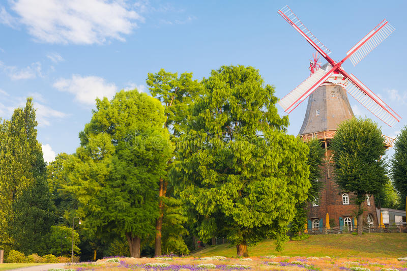 Windmill in Bremen. A windmill in the square in Bremen stock images