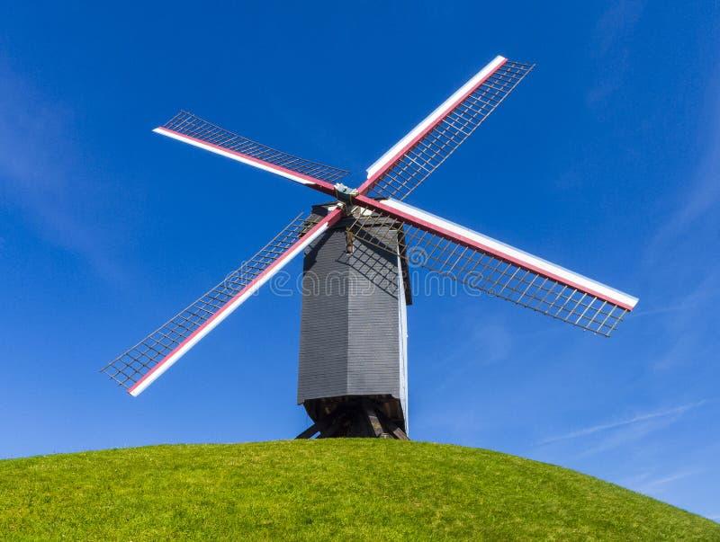 Windmill Bruges Belgium. Belgium, West Flanders Vlaanderen, Bruges Brugge. Bonne Chieremolen windmill on the Kruisvest park royalty free stock photos
