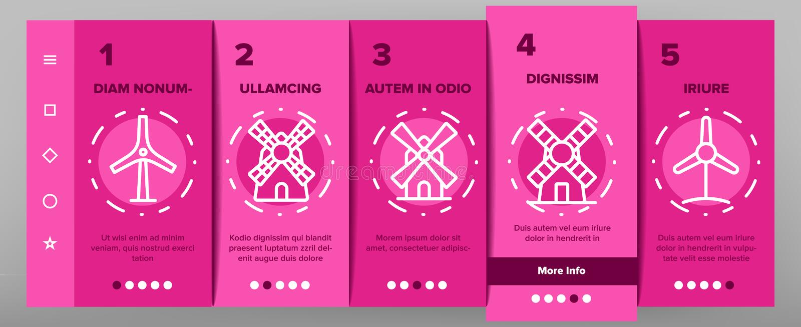 Windmill Building Onboarding Icons Set Vector 皇族释放例证