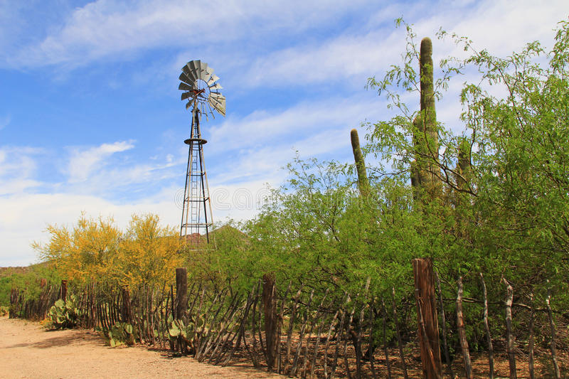 Windmill and Butterfly Garden on La Posta Quemada Ranch in Colossal Cave Mountain Park. Windmill and butterfly garden along a fence on the La Posta Quemada Ranch stock photos
