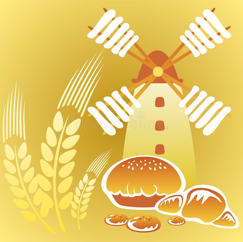 Windmill and cakes. Cartoon retro windmill and cakes on a yellow background stock illustration