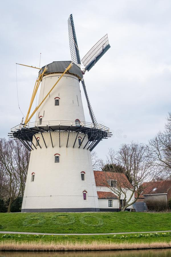 A view of a windmill at sunset on a canal just outside Middelburg, the Netherlands. A windmill on a canal at sunset on a spring day in Middelburg, the royalty free stock images