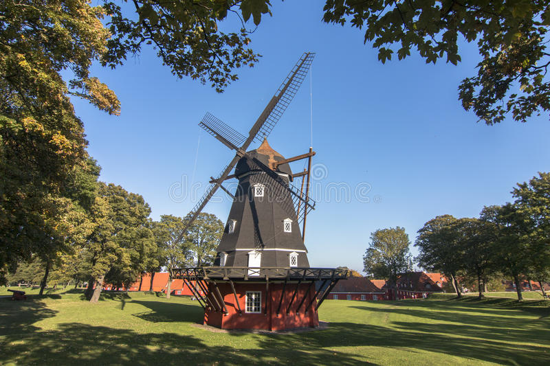 Windmill in copenaghen stock images