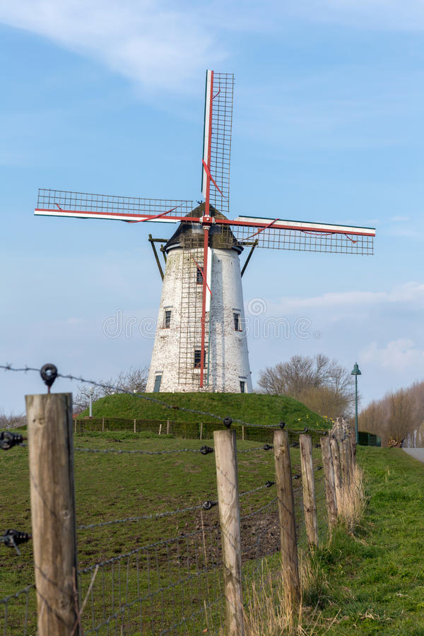 Windmill of Damme in Flanders. Windmill of Damme, one of the most beautiful villages in Flanders Belgium, near Bruges, along the canal Damse Vaart stock photo