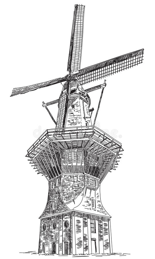 Windmill De Gooyer en el ejemplo del vector de Amsterdam libre illustration