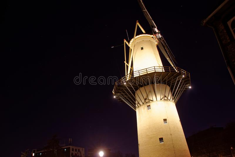 Windmill `de Kameel` in Schiedam stock photo