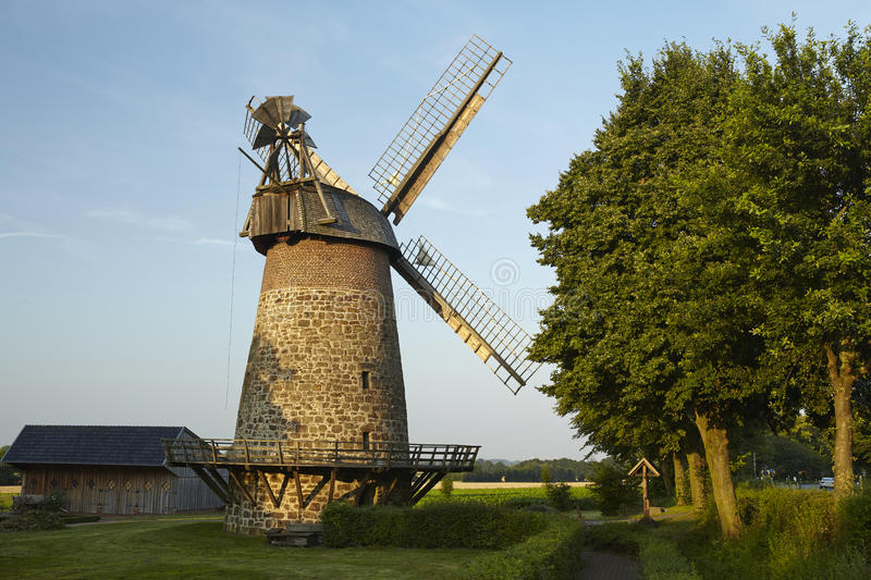 Windmill Eilhausen (Luebbecke, Germany). The windmill Eilhausen (Luebbecke, Germany) is a dutch type of windmill and is part of the Westphalia Mill Street ( stock photography