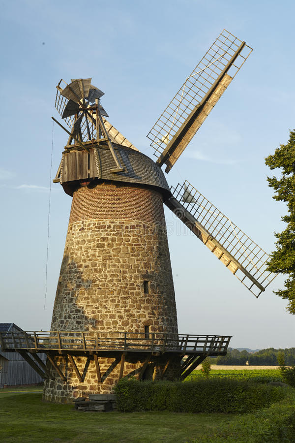 Windmill Eilhausen (Luebbecke, Germany). The windmill Eilhausen (Luebbecke, Germany) is a dutch type of windmill and is part of the Westphalia Mill Street ( royalty free stock photo