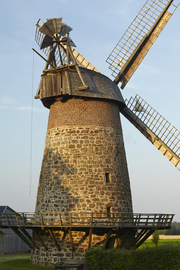 Windmill Eilhausen (Luebbecke, Germany). The windmill Eilhausen (Luebbecke, Germany) is a dutch type of windmill and is part of the Westphalia Mill Street ( royalty free stock image