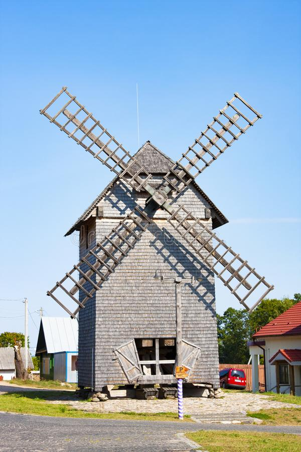 Windmill in ethnocultural complex Nanosy-Novoselye. It is historical recreation complex, which. NanosiNanosy, Belarus - August 24, 2018: Windmill in royalty free stock photo