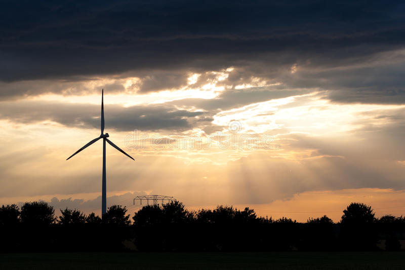 Windmill in the evening royalty free stock image