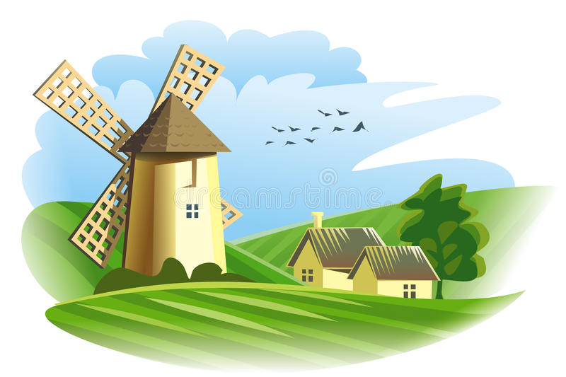 Download Windmill in field stock vector. Image of meadow, groats - 27029947