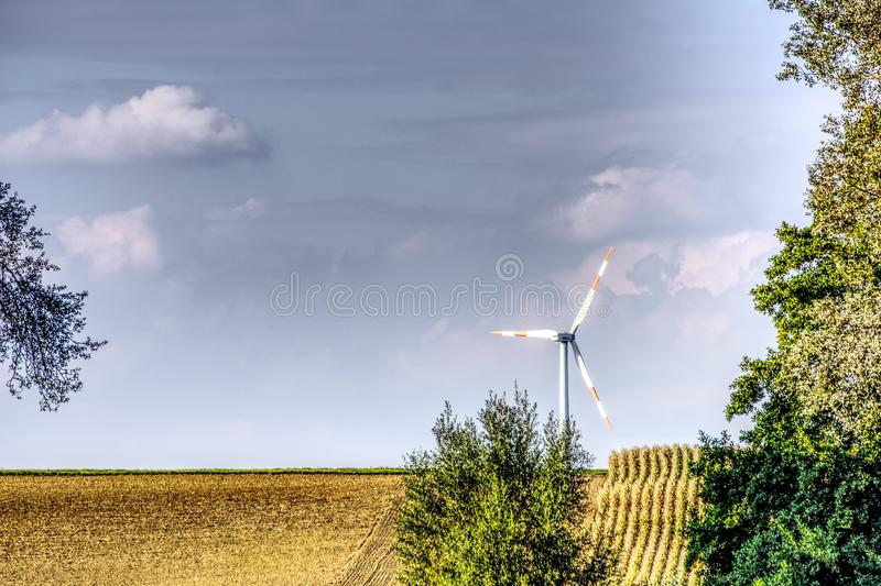 Windmill, Field, Wind Turbine, Sky royalty free stock photos