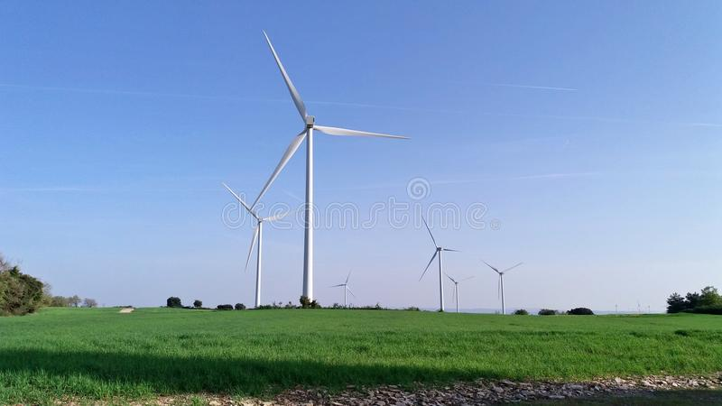 Windmill in the fields of Catalonia stock photo