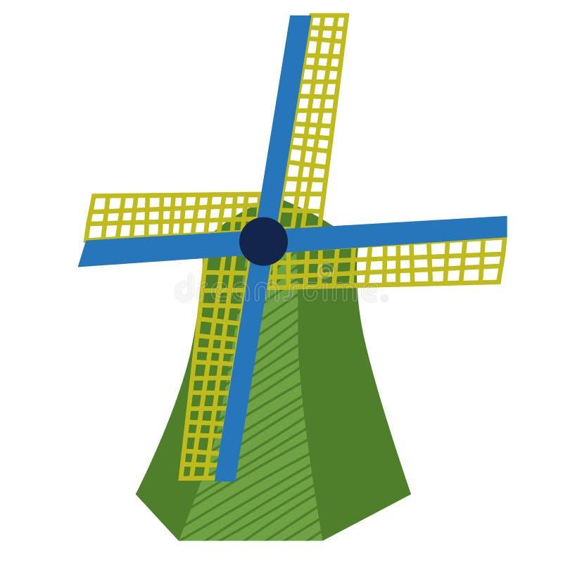 Windmill flat color illustration on white stock illustration