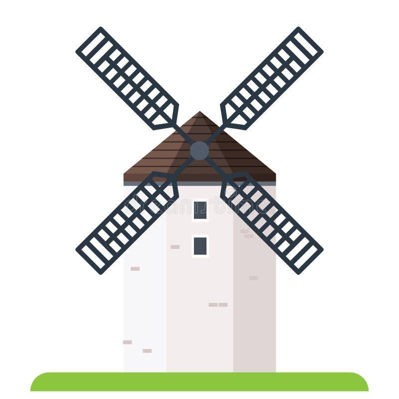 Windmill flat. Farm windmill, flat vector illustration royalty free illustration