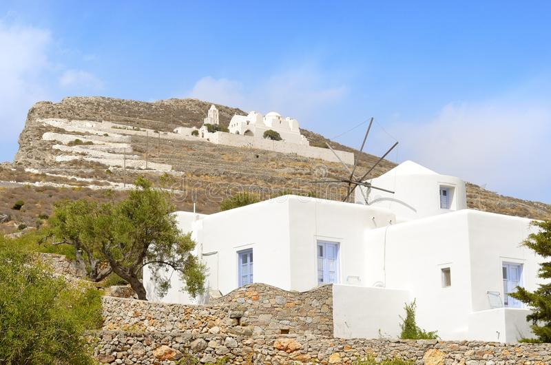 Windmill in Folegandros. Old windmill in Folegandros, Cyclades island royalty free stock images