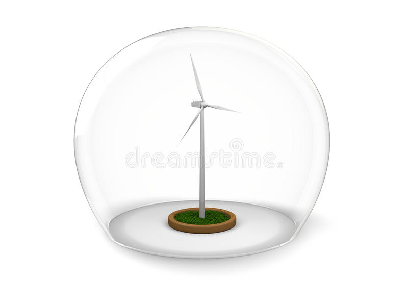 Download Windmill in glass bowl stock illustration. Illustration of environmentalism - 26987927