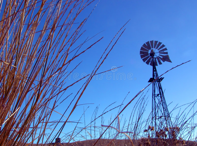 Windmill and Grass stock image