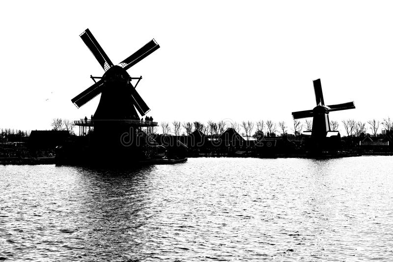 Windmill holland black and white. Netherlands ,zaan schans , dutch royalty free stock photography