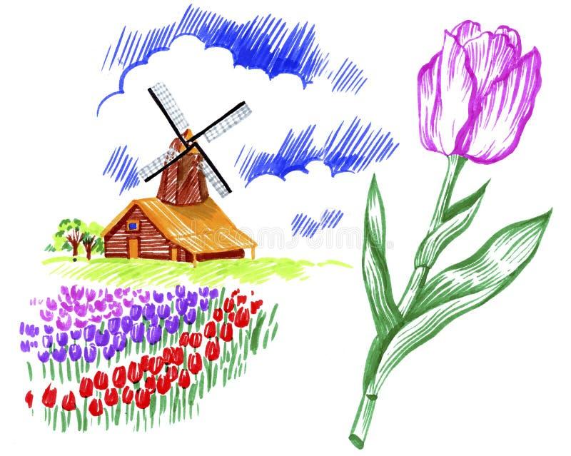 Windmill in Holland vector illustration