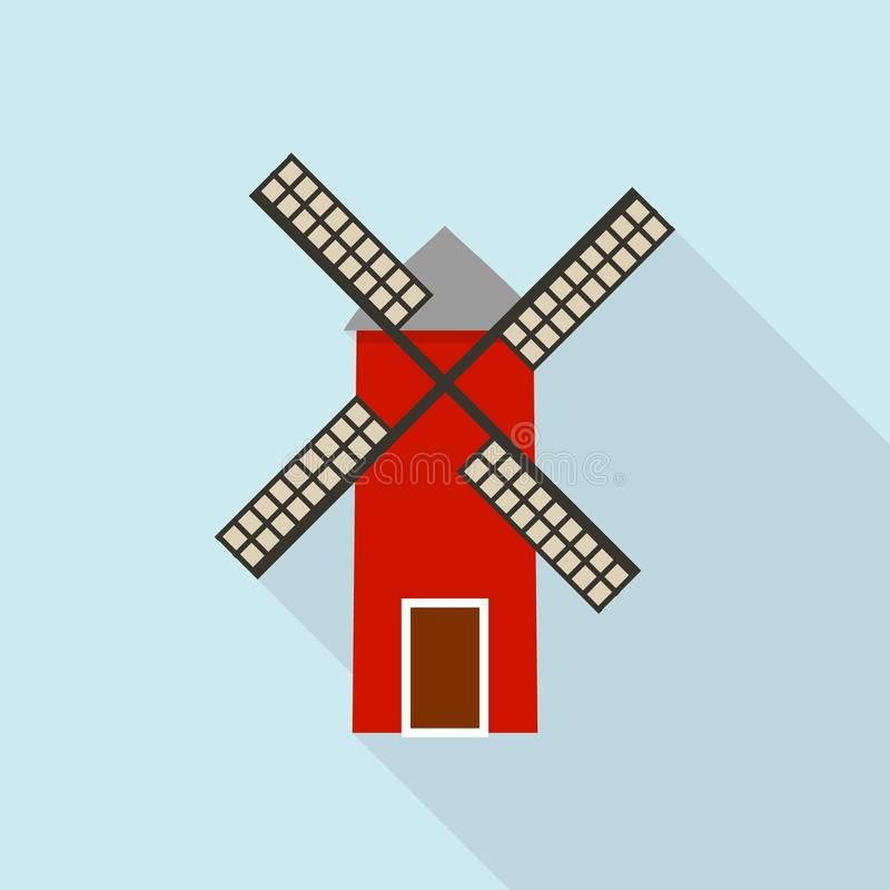 Windmill icon, flat style. Windmill icon. Flat illustration of windmill vector icon for web design stock illustration