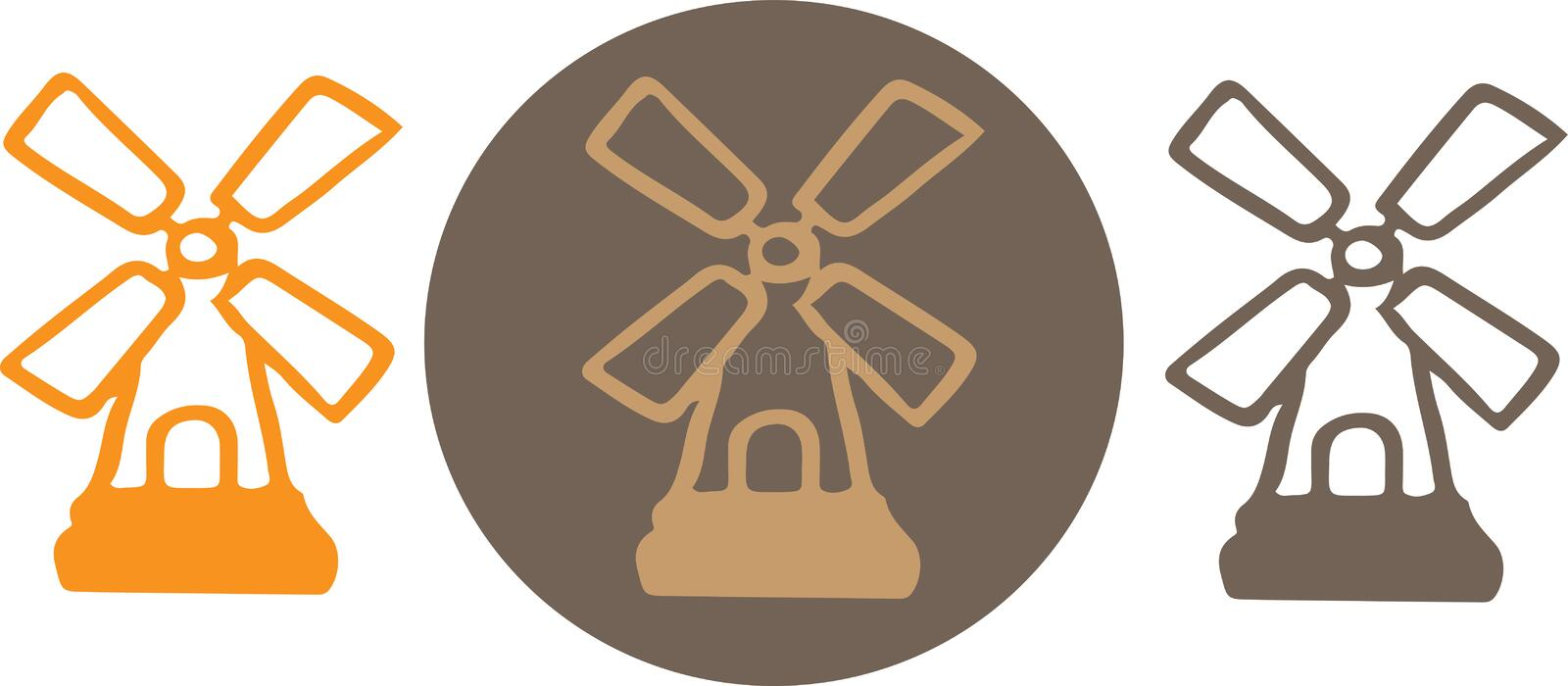 Windmill icon isolated on background.  royalty free illustration