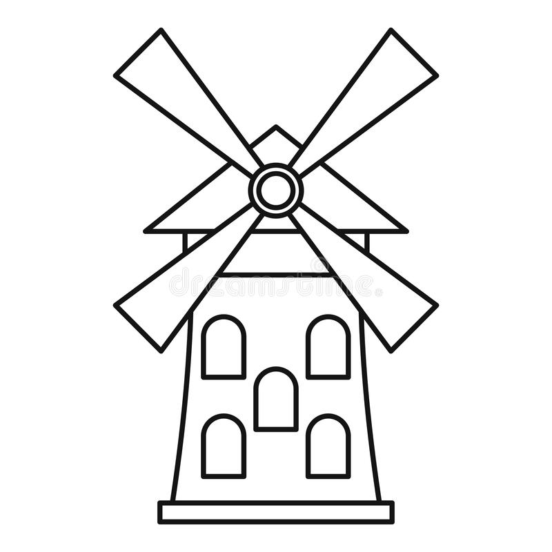 Windmill icon outline style stock vector illustration for Decor outline