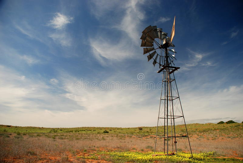 Windmill. Kgalagadi Transfrontier Park, Northern Cape, South Africa royalty free stock image