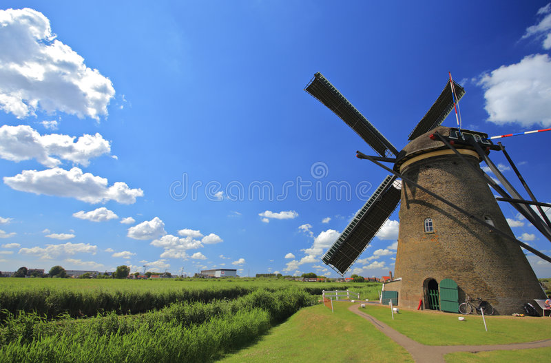 Windmill in Kinderdijk, Holland royalty free stock image