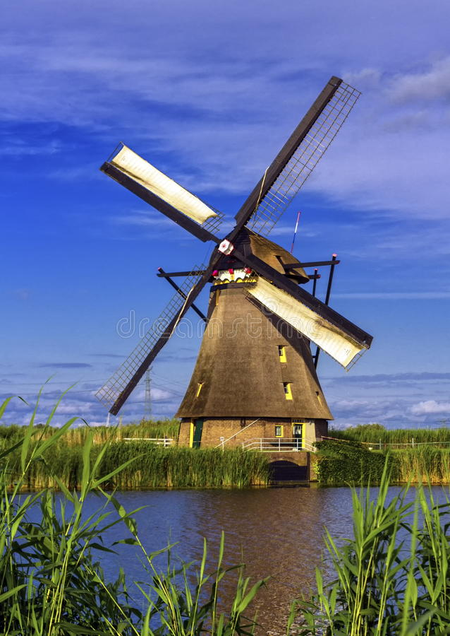 Windmill in Kinderdijk, Holland, Netherlands royalty free stock photography