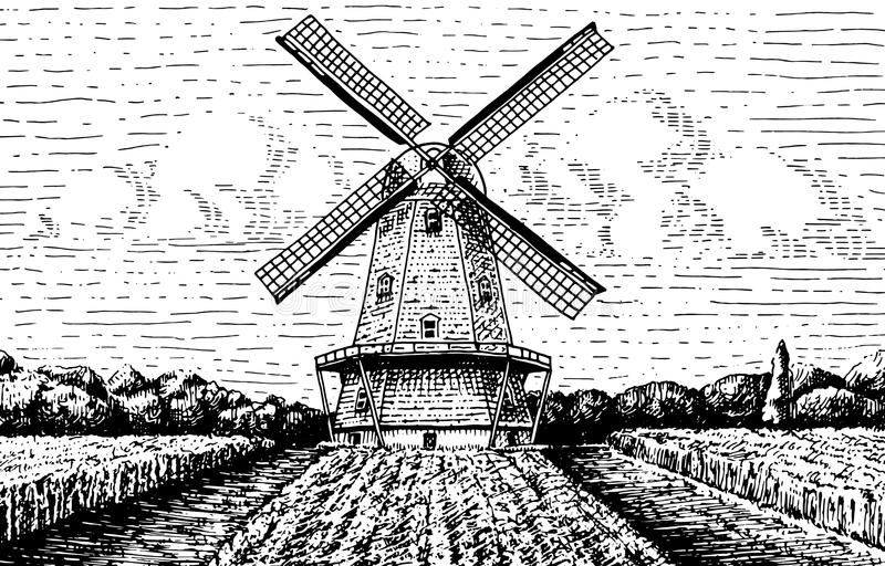 Windmill landscape in vintage, retro hand drawn or engraved style, can be use for bakery logo, wheat field with old. Building vector illustration