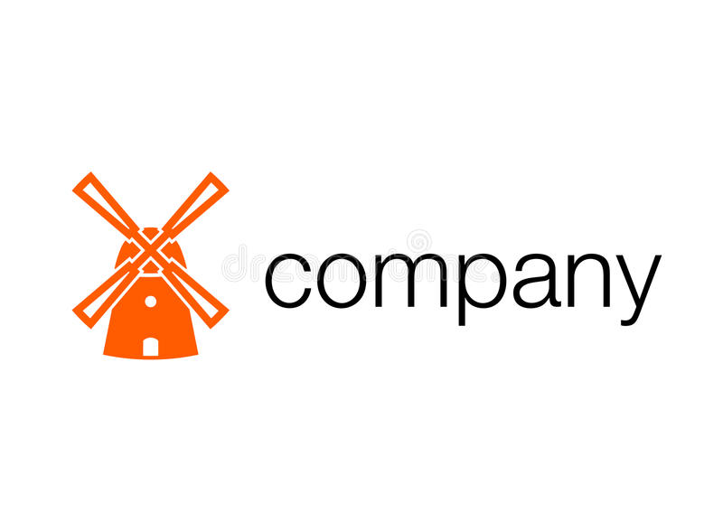 Windmill logotype. Agro-industrial company corporate identity stock illustration