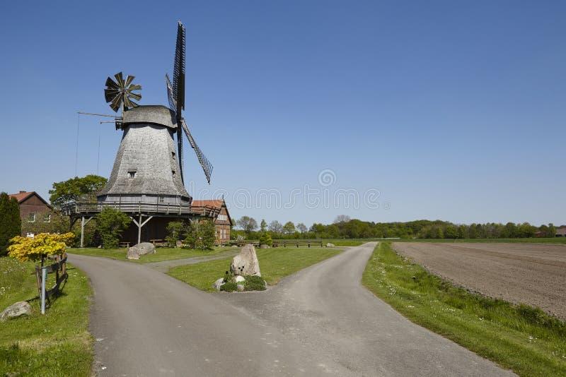Windmill Messlingen Petershagen, Germany. The windmill Messlingen Petershagen, Germany is a dutch-type mill and part of the Westphalia Mill Street Westfaelische stock image