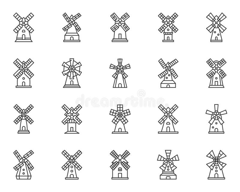 Windmill mill farm simple line icon vector set. Vintage Windmill thin line icon set. Grain flour mill collection of simple outline sign. Farm wind house symbol royalty free illustration