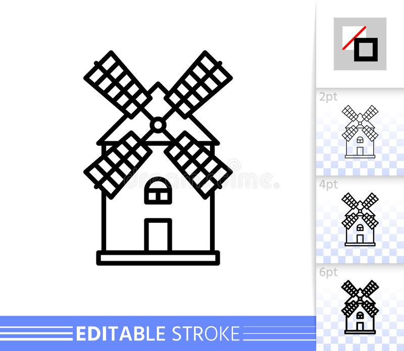 Windmill mill farm simple thin line vector icon. Windmill single line icon. Farm grain flour mill flat banner. Wind house poster. Gristmill linear pictogram royalty free illustration
