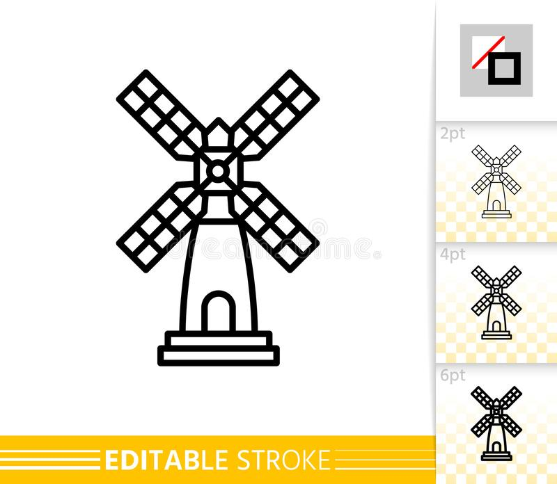 Windmill mill farm simple thin line vector icon. Windmill single line icon. Farm grain flour mill flat banner. Wind house poster. Gristmill linear pictogram vector illustration