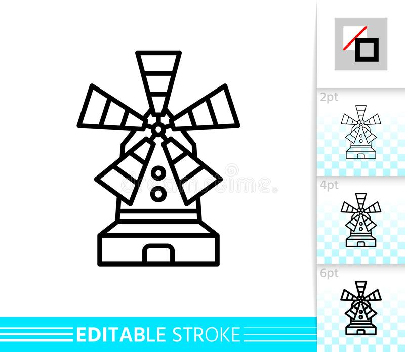 Windmill mill farm simple thin line vector icon. Windmill single line icon. Farm grain flour mill flat banner. Wind house poster. Gristmill linear pictogram stock illustration