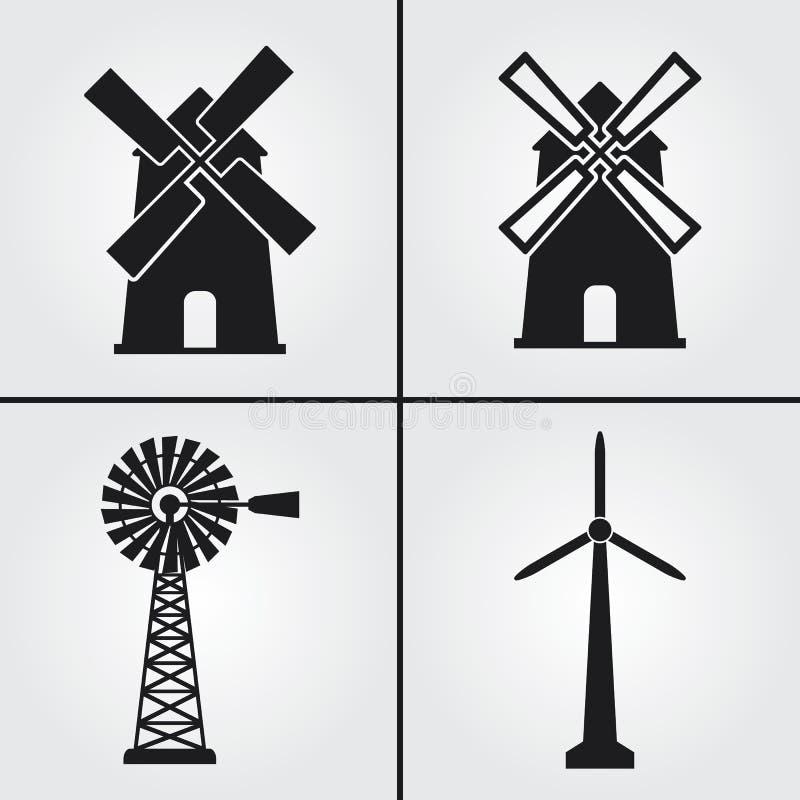 Windmill Mill Simple Vector Icons arkivbilder