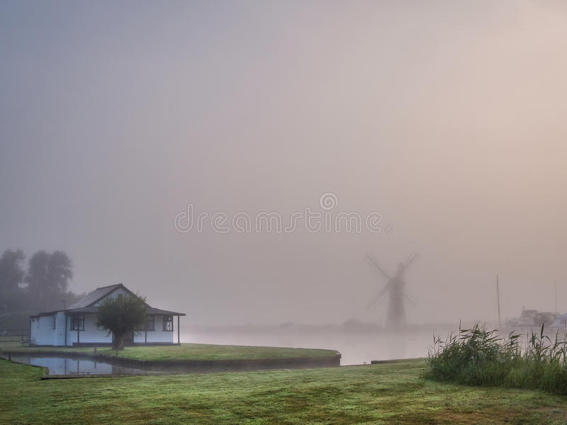 Windmill in the Mist royalty free stock photos