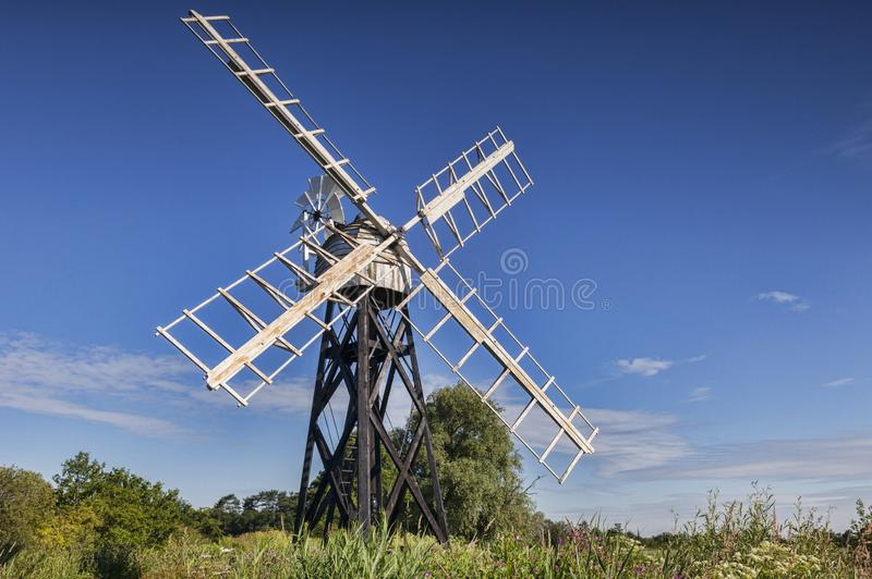 Windmill, Norfolk Broads, UK stock photography