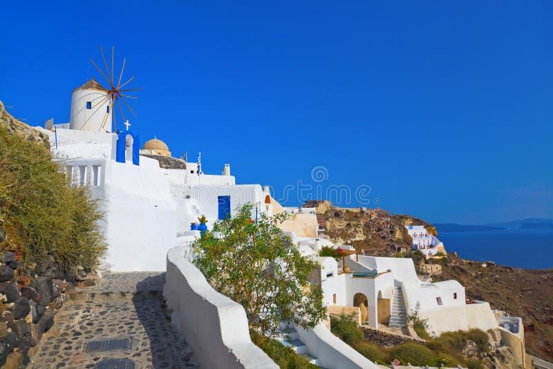 Windmill in Oia at Santorini, Greece stock image