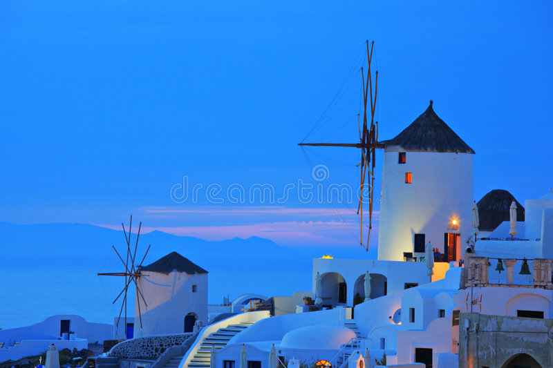 Download Windmill In Oia Village On Santorini Stock Image - Image of architecture, color: 5454855