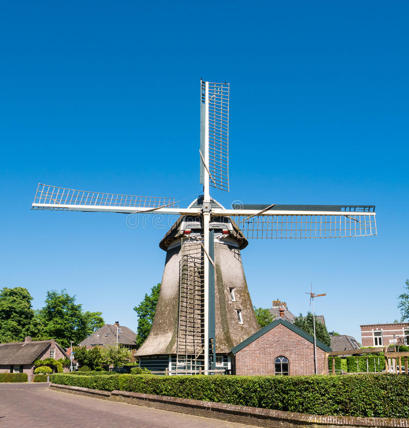 Windmill in old town of Laren, North Holland, Netherlands. Historic windmill in old town of Laren, het Gooi, North Holland, Netherlands stock photography